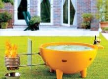 ALFI brand FireHotTub-OR Round Fire Burning Portable Outdoor Fiberglass Soaking Hot Tub, Orange